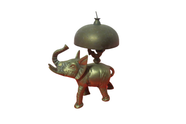 Vintage Brass Elephant Hotel Desk Bell Trunk Up 6quot; Tall Small Flaw $37.95