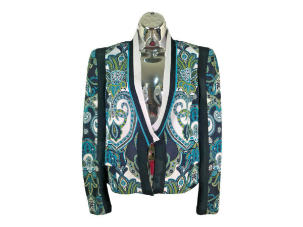ETRO Jacket 46 Blue Floral Black Green Color Blazer Women $2234 $189.95