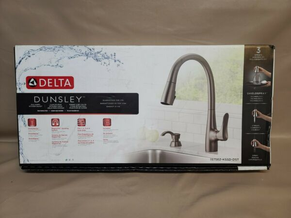 Delta Dunsley Black Stainless Pull Down Kitchen Faucet 19756Z KSSD DST