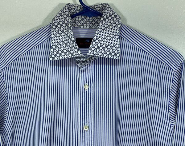 ETRO Men's L S Casual Shirt size 39 color BLUE Striped $23.95