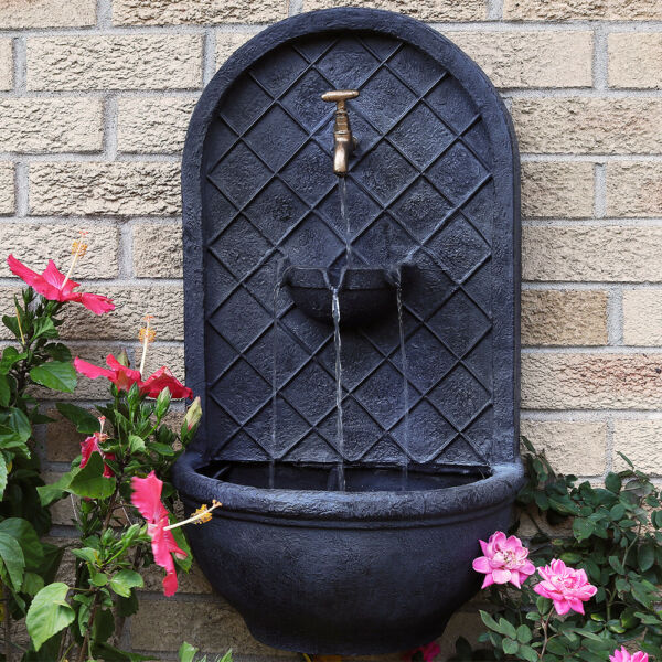 Sunnydaze Messina Electric Outdoor Wall Water Fountain 26quot; Lead Finish