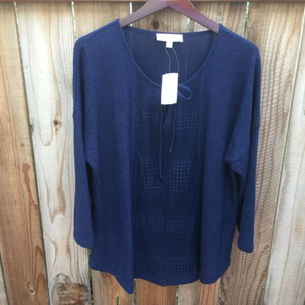🖤 Weekend Suzanne Betro NWT Women's Size 2X Knit Top Blue 3 4 Sleeve Cute $19.99