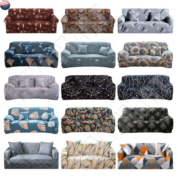 US Printed Slipcover Sofa Covers Spandex Stretch Couch Cover Furniture Protector $17.99
