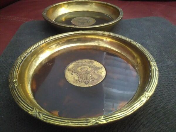 Set of 2 Vintage Brass and Amber Coaster tray etched harp Made in India