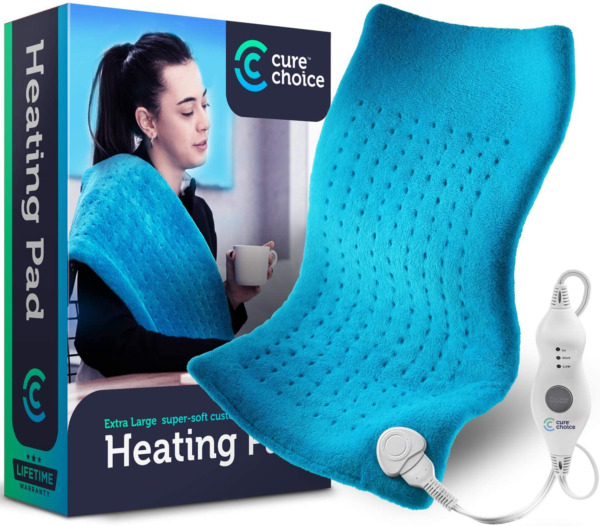 Electric Heating Pad Therapy 12x24 in. Pain Sore Relief Muscle Cramps Large Blue $29.48