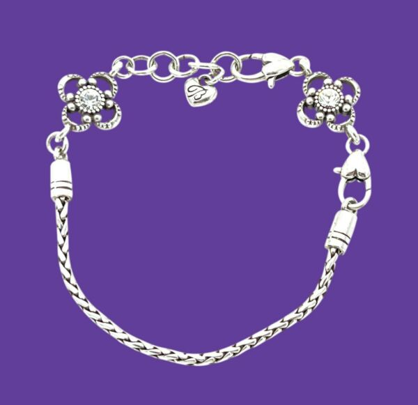 "Brighton Silver Plated Charm Bracelet Crystal Flower Slide Charms 7"" 8"" $19.99"