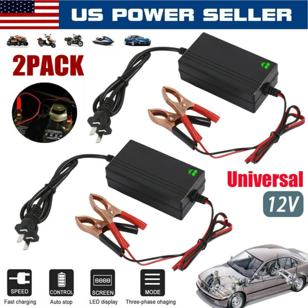 2PACK 12V Auto Car Battery Charger Tender Trickle Maintainer Boat Motorcycle US $16.99