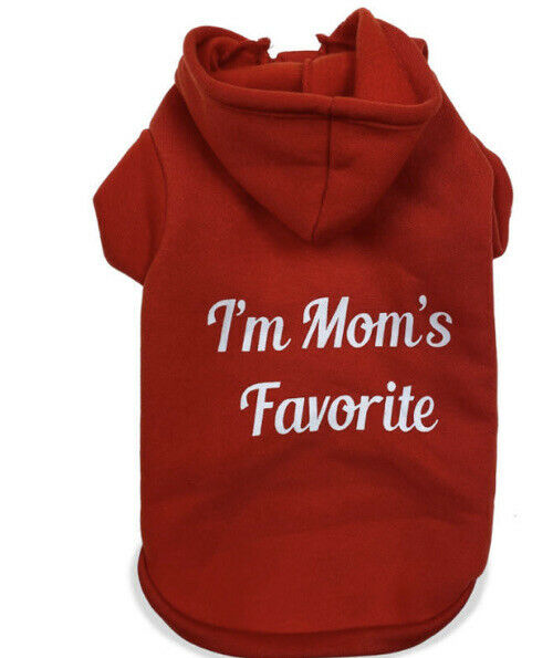 FAB DOG Red Sweatshirt Hoodie quot;I#x27;M MOM#x27;S FAVORITEquot; Puppy Dog LARGE $16.50