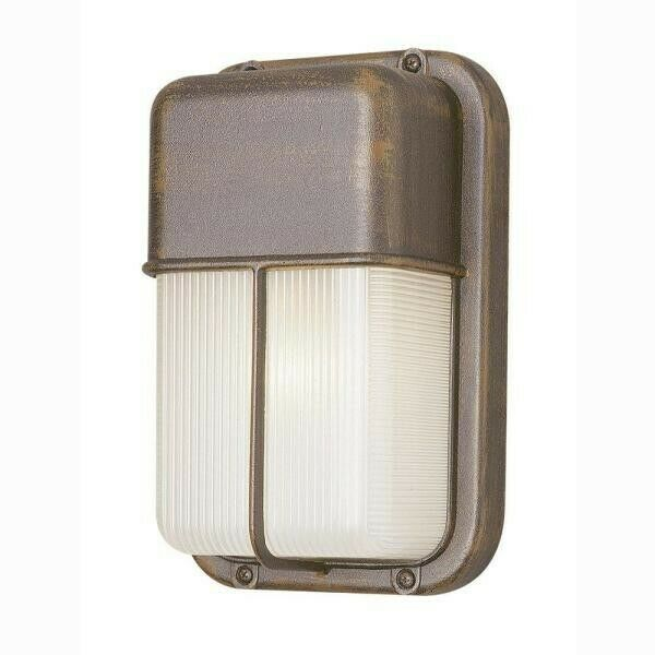 Well 1 Light Rust Outdoor Rectangular Bulkhead Light with Ribbed Acrylic Shade $24.99