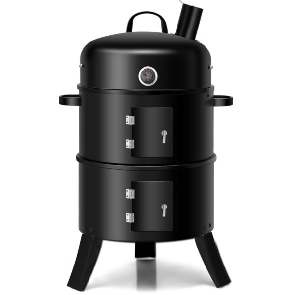 3 in 1 Portable Home Charcoal Smoker Vertical BBQ Grill Built in Thermometer