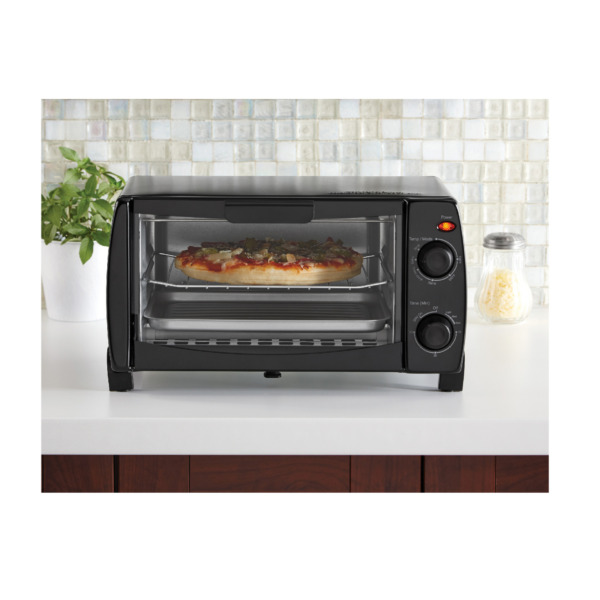 4 Slice Little Black Toaster Oven With Toast Bake Or Broil Settings 1050W Power