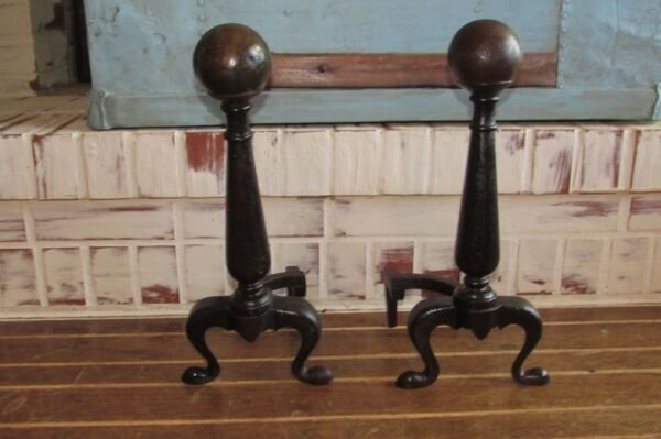 Vintage Fireplace Andirons Firedog Canon Ball Style Cast Iron and Copper? #1060