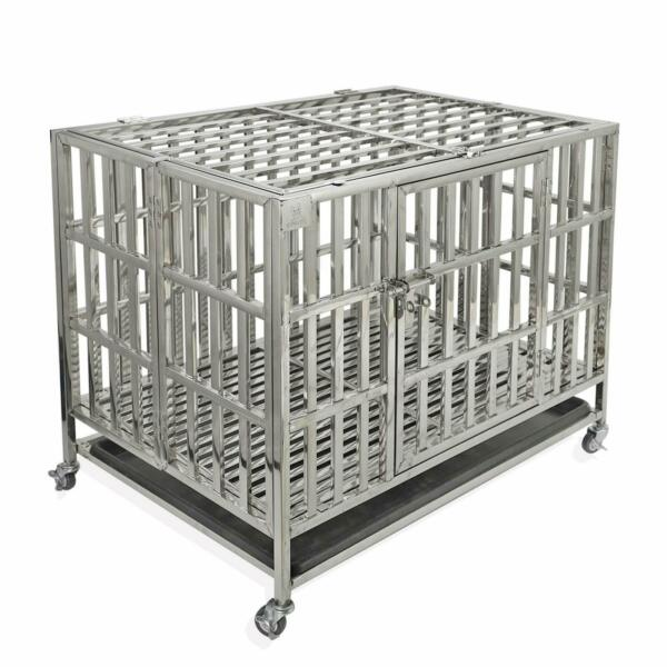Confote 37quot; Heavy Duty Stainless Steel Dog Cage Kennel Crate Folding Playpen $209.99