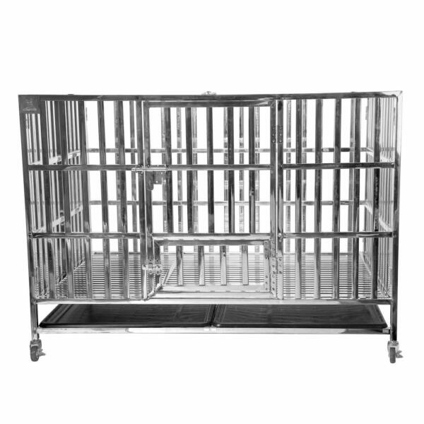 48quot; Heavy Duty Stainless Steel Dog Cage Kennel Large Crate Folding Pet Playpen