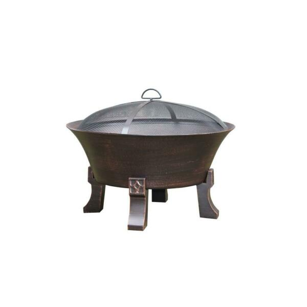 Fire Pit Cast iron 26 in. Deep Bowl With Wood Grate Mesh Cover And Poker