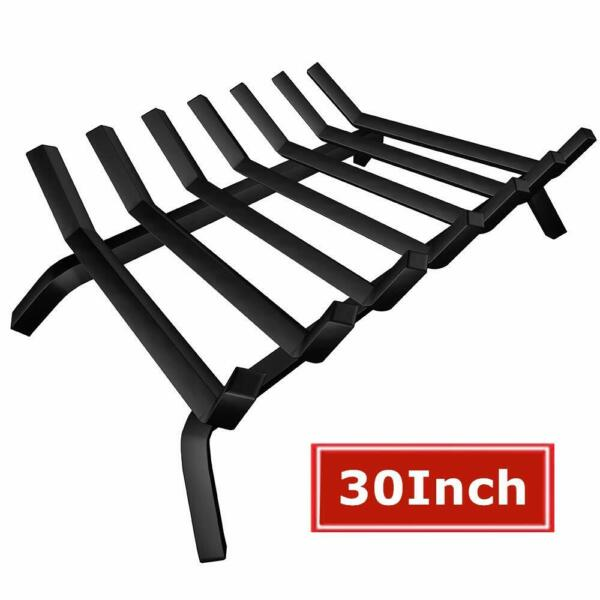 Fireplace Grate Black Wrought Iron 30 in. Log Holder Wide Heavy Duty Solid Steel