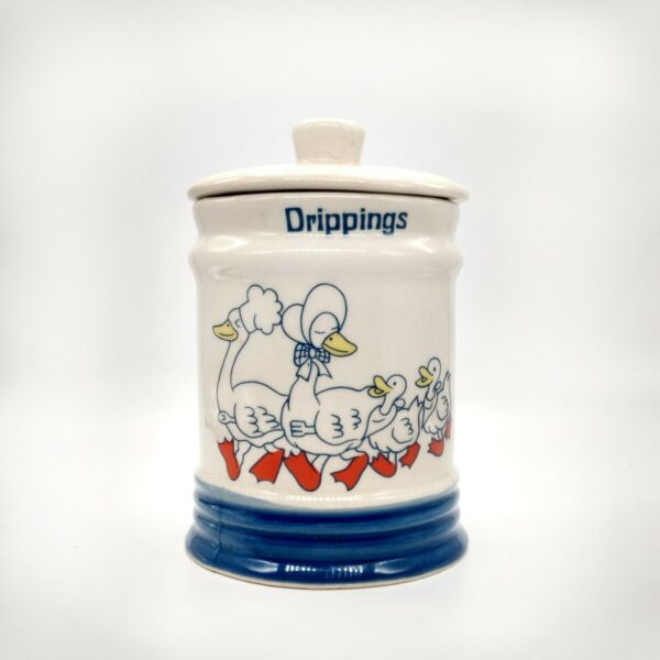 1980s Country Goose Drippings Crock Jar with Lid Farmhouse Vintage Lard Grease