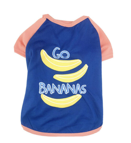 ELLEN DEGENERES NAVY PEACH TRIM quot;GO BANANASquot; T SHIRT Puppy Dog MEDIUM NWT $16.50