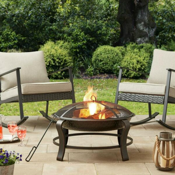 Fire Pit 28 inch Round Wood Burning With Mesh Screen Poker Wood Grate Cover