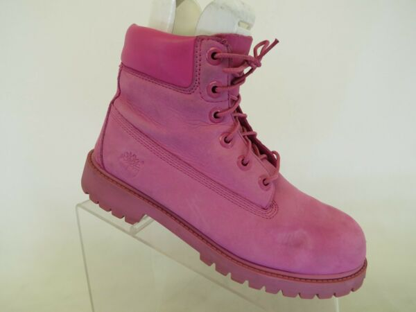 Timberland Pink Leather Laces Casual Ankle Boots Youth Size 5.5 M $18.39