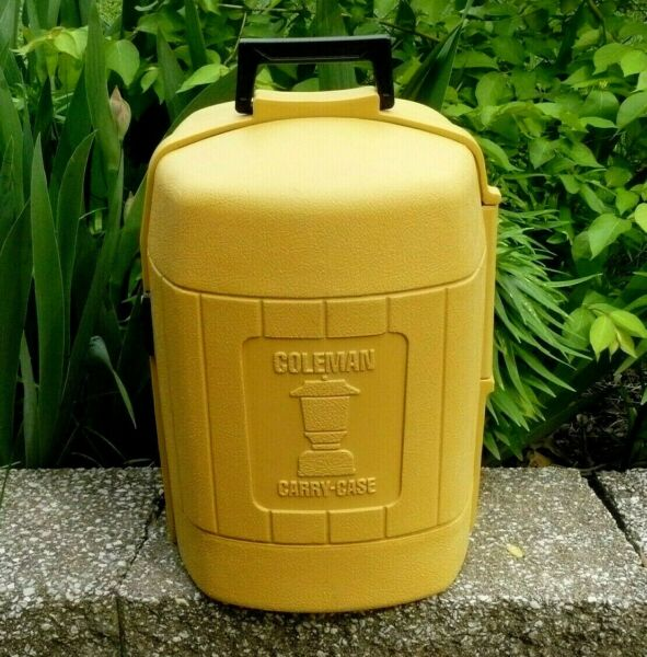 Coleman Lantern Clam Shell Model 275 Yellow Carry Case Vintage