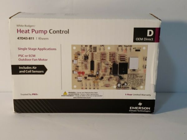 White Rodgers 47D43 811 Rheem Heat Pump Control Includes Air And Coil Sensors $67.99
