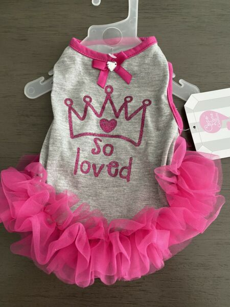 COCO LANE GRAY with HOT PINK SKIRT quot;SO LOVEDquot; TUTU DRESS Puppy Dog SMALL NWT $16.50
