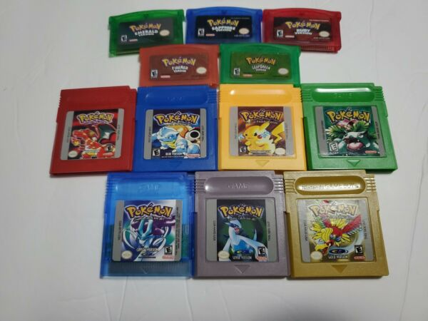Pokemon GBA Emerald Fire Red Leaf Ruby GBC Red Blue Yellow Green Crystal Gameboy