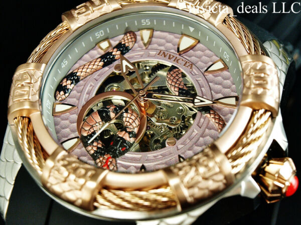 NEW Invicta Men#x27;s 52mm BOLT VIPER SNAKE Automatic Silver amp; Rose Tone SS Watch $109.89