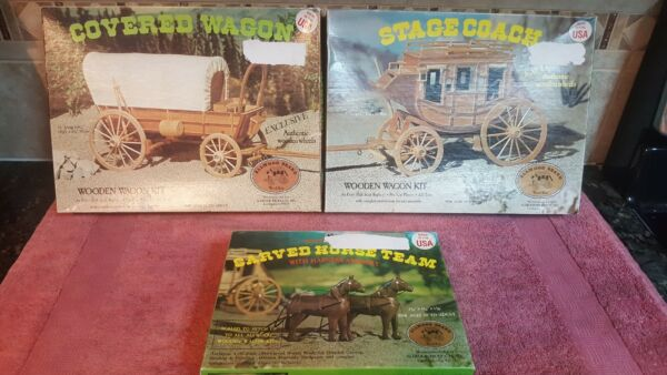 1977 Allwood Products 1 16 Set of 3 Wood Kits Covered Wagen Stagecoach Horses $89.99
