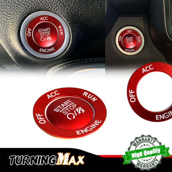 Red Engine Start Stop Push Button Cap Cover Ring For 16 21 Dodge Jeep Chrysler