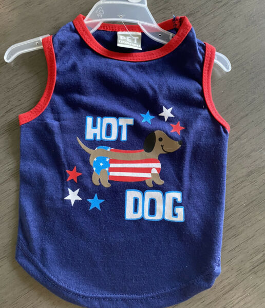 PET SPIRIT Blue T Shirt PATRIOTIC quot;HOT DOGquot; 4TH of July Puppy Dog large $14.50