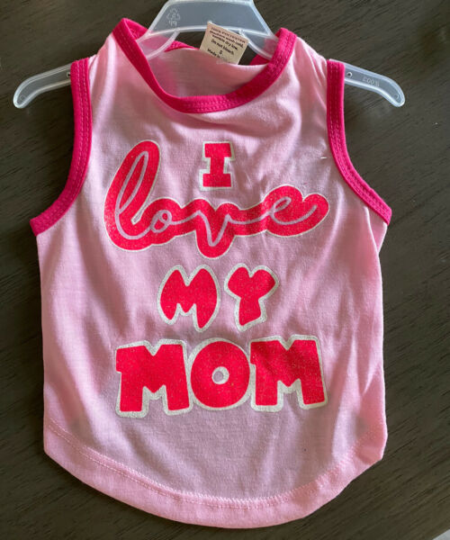 PET SPIRIT Pink T Shirt quot;I LOVE MY MOMquot; Puppy Dog MEDIUM NWT $14.50