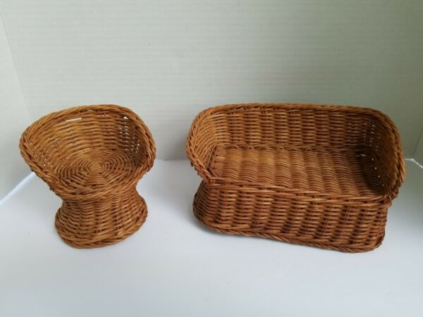 Vintage Barbie Size WICKER FURNITURE for Any Dollhouse Loveseat and Chair $9.99