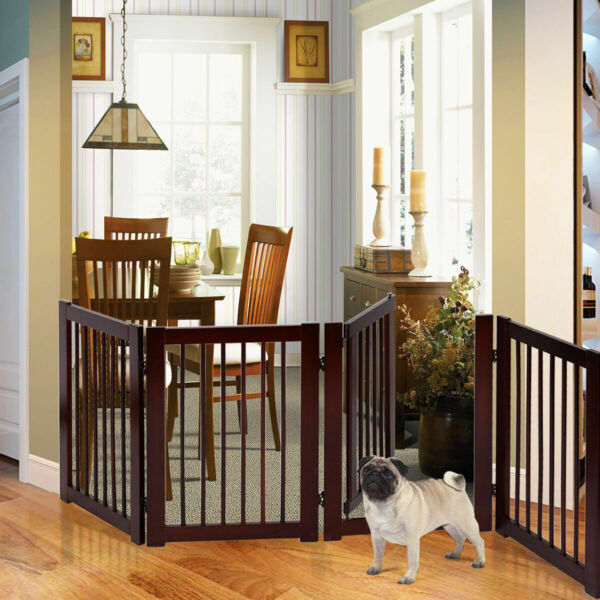 30quot; Configurable Folding Free Standing 4 Panel Wood Pet Dog Safety Fence w Gate $89.98