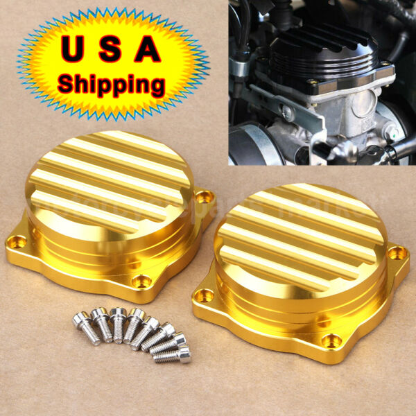 2x Gold Carburetor Cover CNC Carb Tops Ripple For Triumph Bonneville 2008 2015 $24.98