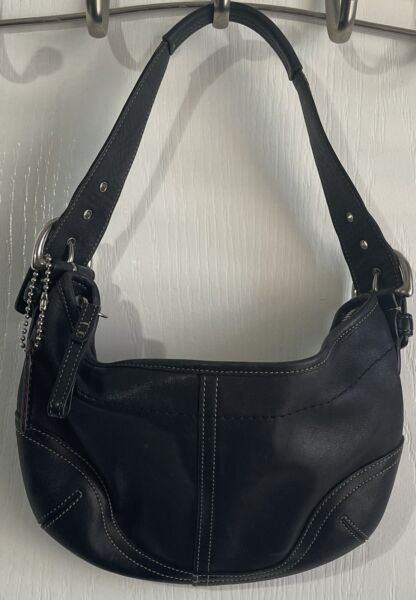 COACH Black Leather Small Bag Purse FREE SHIPPING $45.00