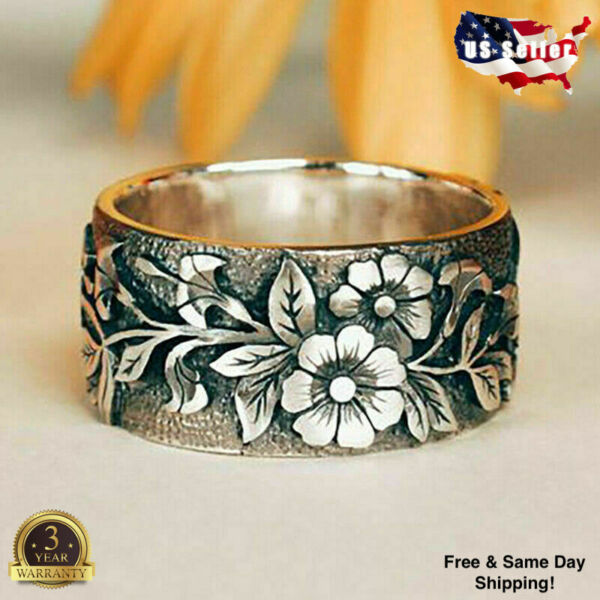 Pretty Flower 925 Silver Rings for Women Jewelry Party Rings Size 5 10