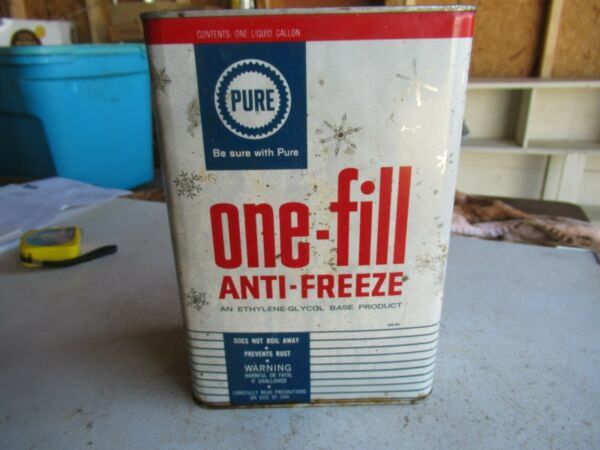 Vintage Rare Style 1 Gallon Pure Oil One Fill Anti Freeze Can Lot 21 28 $35.00