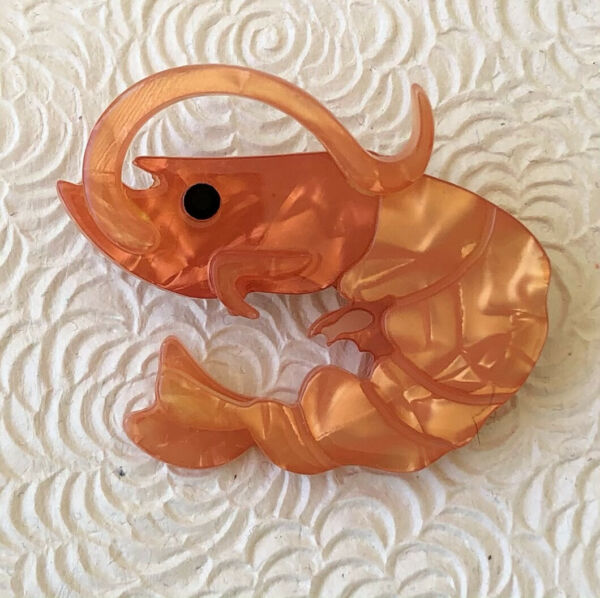 Unique large Shrimp Brooch Pin In acrylic $16.00