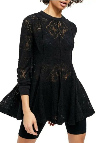Free People Boho Hippie Lace Coffee in the Morning Tunic Top Sz Small NWT $128