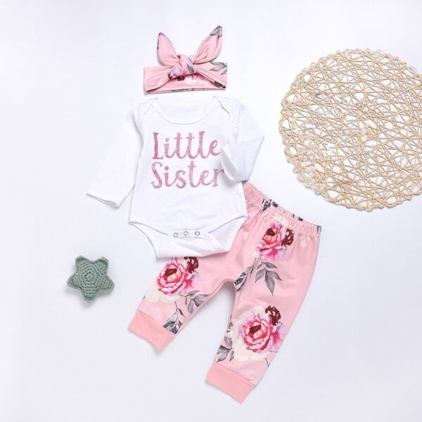 Infant Baby Girls Romper Tops Jumpsuit Floral Pants Headband Clothes Outfits US