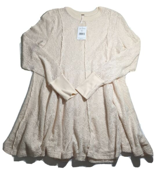 Free People Coffee In The Morning Lace Shirt Tunic NEW Sz S Sweater Top Ivory