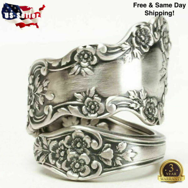 Fashion Flower 925 Silver Rings for Women Party Jewelry Gift Rings Size 6 10