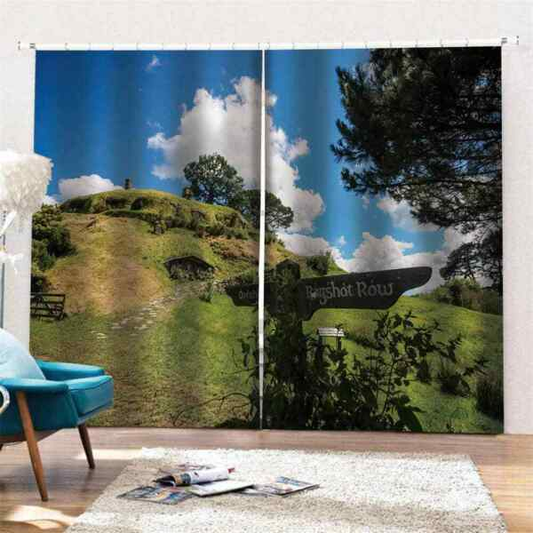 mountain bag covered with grassPrinting 3D Blockout Curtains Fabric Window AU $399.22