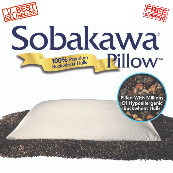 Queen Size Therapeutic Pillow Natural Buckwheat Hull Fill Relieve Muscle Tension $48.55