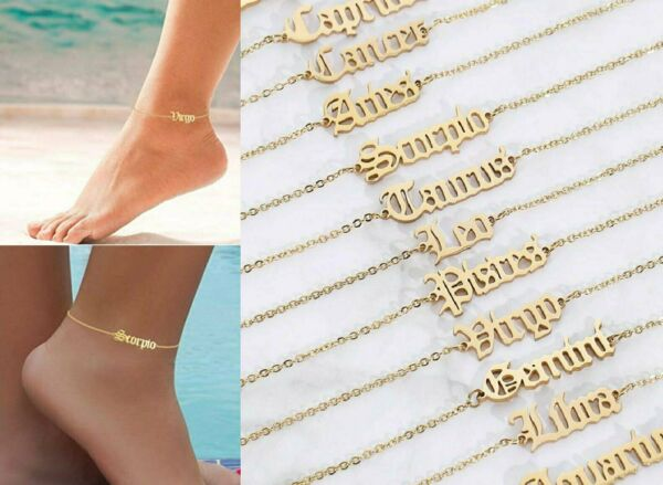 Women Gold Anklets Simple Letters Twelve Constellations Ankle Bracelet Jewelry $2.95