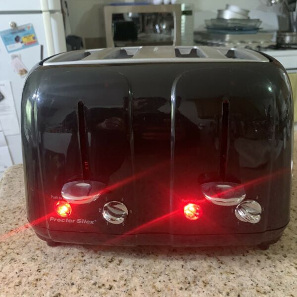 ProctorSilex 4 Slice Black Toaster With Crumb Tray Tested And Working Pre owned