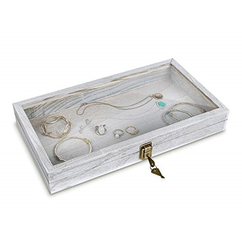 MOOCA Natural Wood Glass Top Jewelry Display Case Accessories Storage Box with $24.54