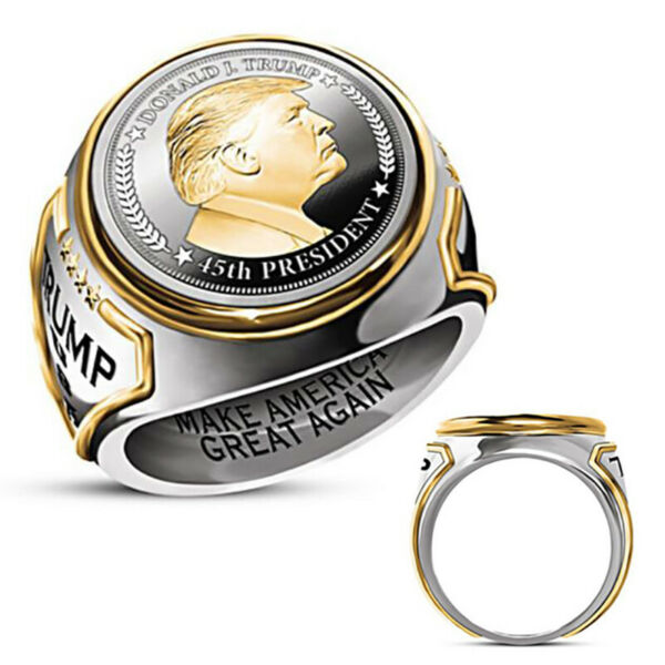 Unique Men Ring quot;Make America Great Againquot; USA President Trump Jewelry Size 7 IS C $2.09